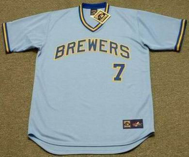 Don Money 1975 Milwaukee Brewers Cooperstown Away MLB Throwback Baseball Jerseys - FRONT