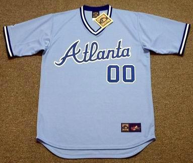 ATLANTA BRAVES 1980`s Away Majestic Throwback Custom MLB Jerseys - FRONT