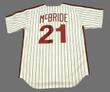 BAKE McBRIDE Philadelphia Phillies 1980 Majestic Cooperstown Throwback Home Baseball Jersey - Back