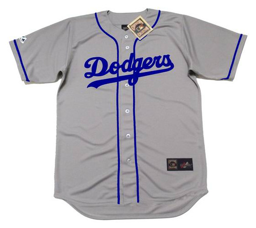 JACKIE ROBINSON Brooklyn Dodgers 1955 Away Majestic Baseball Throwback Jersey - FRONT