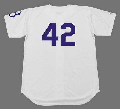 JACKIE ROBINSON Brooklyn Dodgers 1950's Home Majestic Baseball Throwback Jersey - BACK
