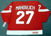 FRANK MAHOVLICH Detroit Red Wings 1968 CCM Throwback NHL Hockey Jersey - BACK