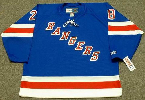 TIE DOMI New York Rangers 1990's Away CCM NHL Vintage Throwback Jersey - FRONT