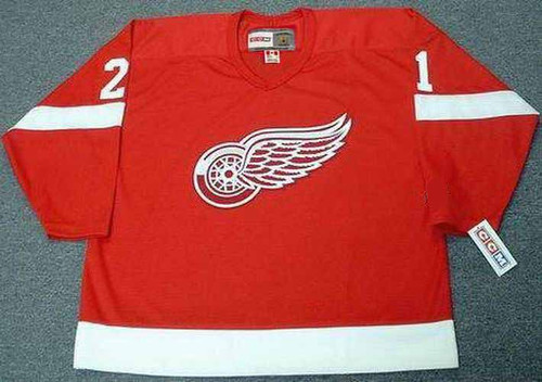 1988 Away CCM Throwback ADAM OATES Detroit Red Wings Jersey - FRONT