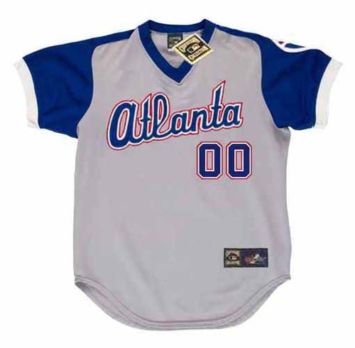 ATLANTA BRAVES 1970's Away Majestic Throwback Customized Baseball Jersey - FRONT