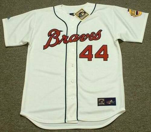 HANK AARON Milwaukee Braves 1960's Majestic Throwback Baseball Jersey - FRONT