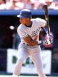 DARRYL STRAWBERRY Los Angeles Dodgers 1991 Away Majestic Baseball Throwback Jersey - Action