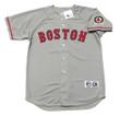 PEDRO MARTINEZ Boston Red Sox 2004 Away Majestic Baseball Throwback Jersey - Front