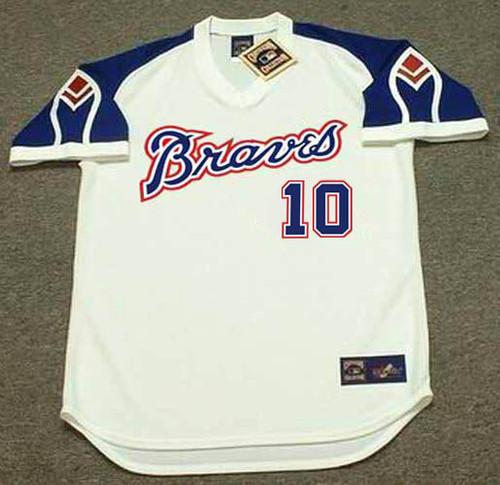 CHIPPER JONES Atlanta Braves 1970's Home Majestic Throwback Baseball Jersey - FRONT