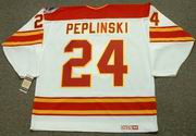 JIM PEPLINSKI Calgary Flames 1989 CCM Vintage Throwback Home NHL Hockey Jersey