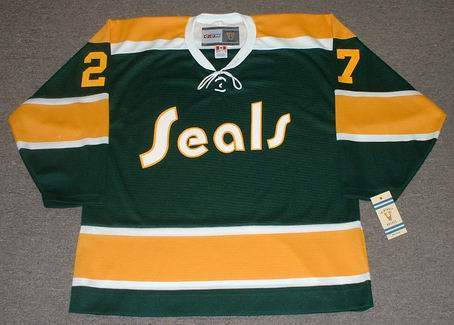 GILLES MELOCHE California Golden Seals 1972 CCM NHL Vintage Throwback Jersey - FRONT