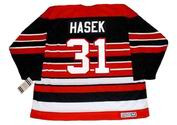 DOMINIK HASEK Chicago Blackhawks 1992 CCM Vintage Throwback NHL Hockey Jersey - BACK