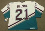 DAN BYLSMA 2003 CCM Vintage Home Anaheim Mighty Ducks White Jersey - BACK