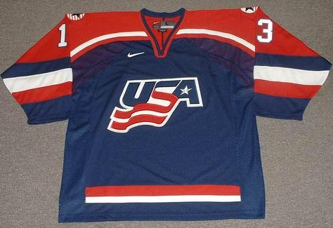 buy online dac83 33ed8 BILL GUERIN 2002 USA Nike Olympic Throwback Hockey Jersey