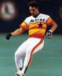 BILL DORAN Houston Astros 1980's Home Majestic Baseball Throwback Jersey - Action