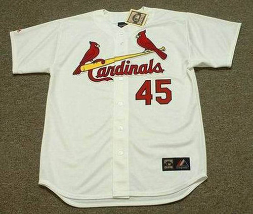BOB GIBSON St. Louis Cardinals 1967 Majestic Cooperstown Throwback Home Baseball Jersey - Front