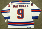 ANDY BATHGATE New York Rangers 1960's Away CCM Throwback NHL Hockey Jersey - BACK