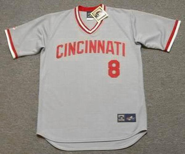 JOE MORGAN Cincinnati Reds 1975 Majestic Cooperstown Away Baseball Jersey