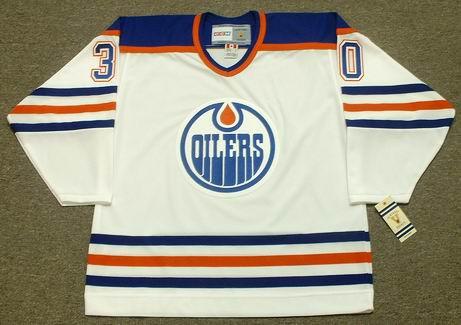 BILL RANFORD Edmonton Oilers 1990 Home CCM NHL Vintage Throwback Jersey - FRONT