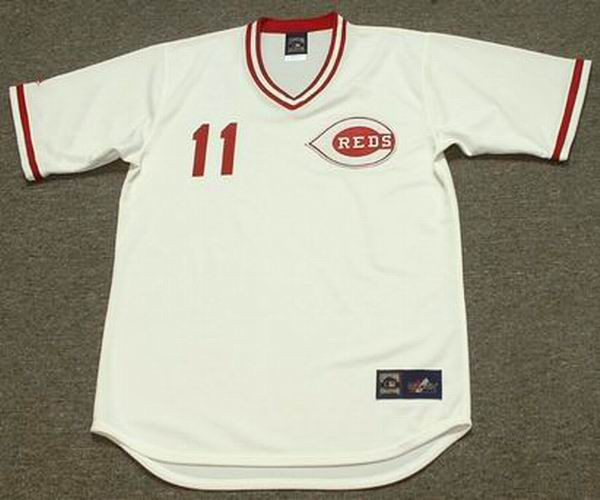 best sneakers 6d256 3ec51 BARRY LARKIN Cincinnati Reds 1990 Majestic Cooperstown Home Baseball Jersey