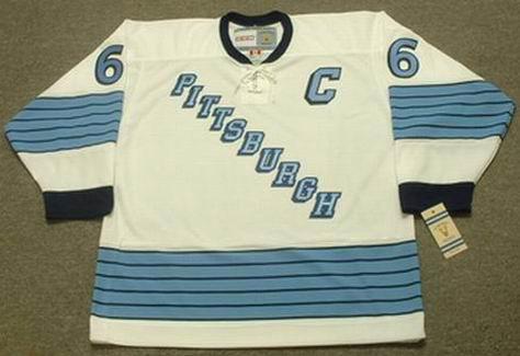 MARIO LEMIEUX Pittsburgh Penguins 1967 Away CCM Vintage NHL Throwback Jersey - FRONT