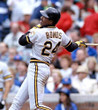 BARRY BONDS Pittsburgh Pirates 1992 Away Majestic Baseball Throwback Jersey - ACTION