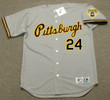 BARRY BONDS Pittsburgh Pirates 1992 Away Majestic Baseball Throwback Jersey - FRONT