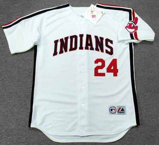 low priced aaf1b 77a65 MANNY RAMIREZ Cleveland Indians 1993 Home Majestic Baseball Throwback Jersey