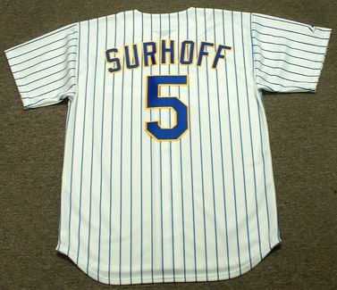 BJ Surhoff 1990 Milwaukee Brewers Cooperstown Home MLB Throwback Baseball Jerseys - BACK