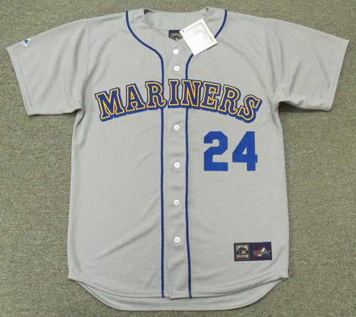 KEN GRIFFEY JR. Seattle Mariners 1989 Away Majestic Baseball Throwback Jersey - FRONT