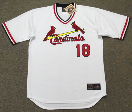 ANDY VAN SLYKE St. Louis Cardinals 1985 Majestic Cooperstown Home Baseball Jersey - FRONT