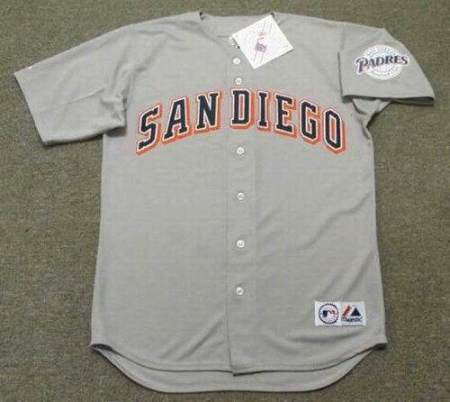 TONY GWYNN San Diego Padres 1997 Away Majestic Baseball Throwback Jersey - FRONT