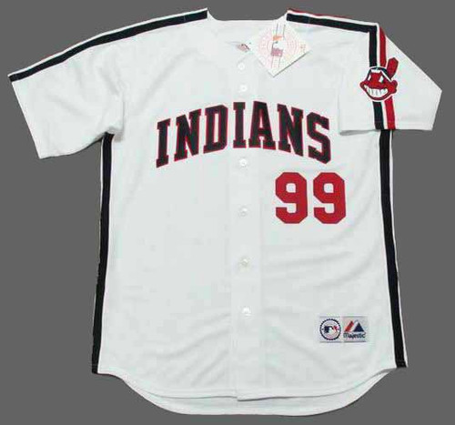 "RICKY ""WILD THING"" VAUGHN Cleveland Indians 1980's Majestic Baseball Throwback Jersey - FRONT"