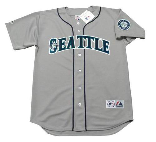 KEN GRIFFEY JR. Seattle Mariners 1997 Away Majestic Throwback Baseball Jersey - FRONT