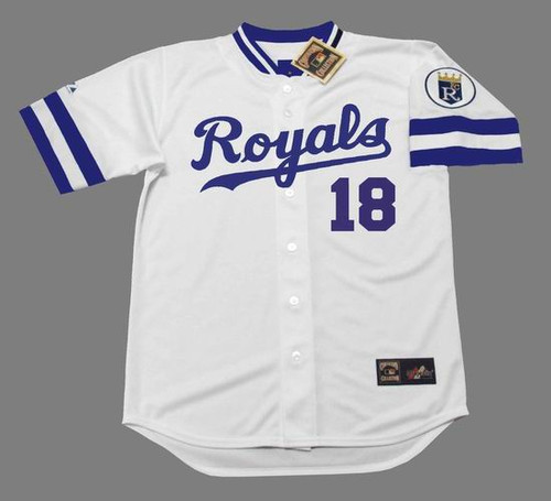 BRET SABERHAGEN Kansas City Royals 1989 Home Majestic Throwback Baseball Jersey - FRONT