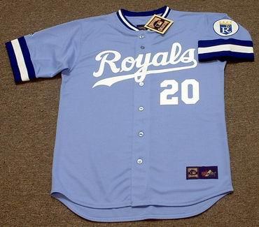 FRANK WHITE Kansas City Royals 1985 Away Majestic Throwback Baseball Jersey - FRONT