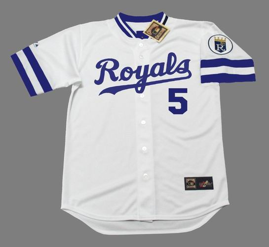 huge selection of 115e7 4c49d GEORGE BRETT Kansas City Royals 1985 Majestic Cooperstown Home Baseball  Jersey