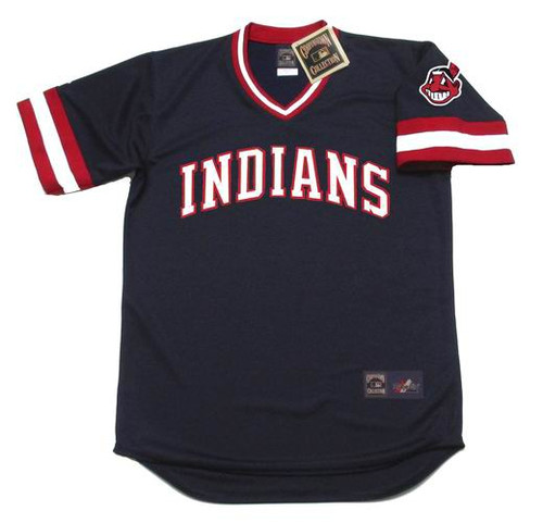 BERT BLYLEVEN Cleveland Indians 1984 Away Majestic Throwback Baseball Jersey - FRONT