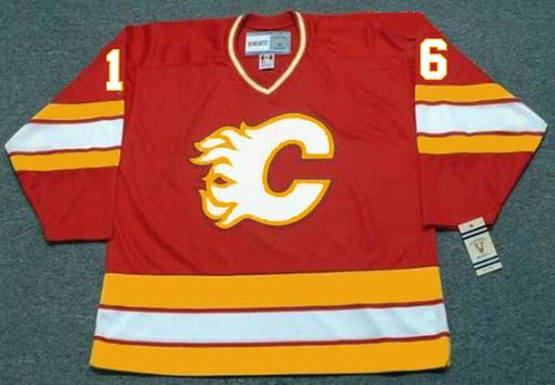 Brett Hull 1987 Calgary Flames CCM Vintage NHL Throwback Hockey Jersey - FRONT