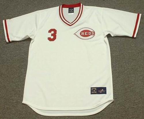 KEN GRIFFEY JR. Cincinnati Reds 1970's Home Majestic Throwback Baseball Jersey - FRONT