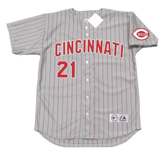 timeless design a695d 80930 DEION SANDERS Cincinnati Reds 1997 Away Majestic Baseball Throwback Jersey