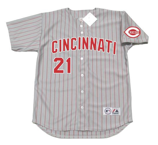 timeless design c651c a4877 DEION SANDERS Cincinnati Reds 1997 Away Majestic Baseball Throwback Jersey