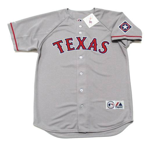sale retailer 7ae32 a3522 IVAN RODRIGUEZ Texas Rangers 1995 Away Majestic Baseball Throwback Jersey