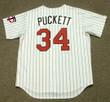 KIRBY PUCKETT Minnesota Twins 1991 Majestic Throwback Home Baseball Jersey - BACK