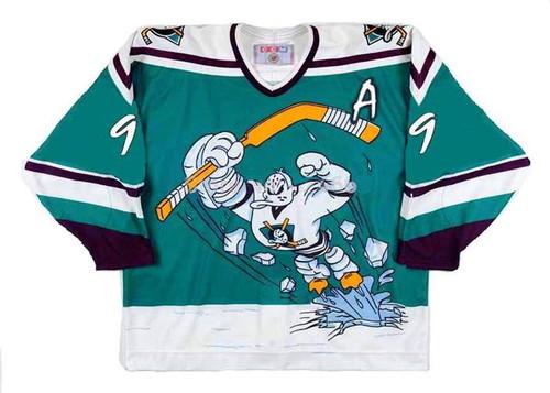 Paul Kariya 1995 Anaheim Mighty Ducks Wild Wing NHL Throwback Hockey Jersey - FRONT