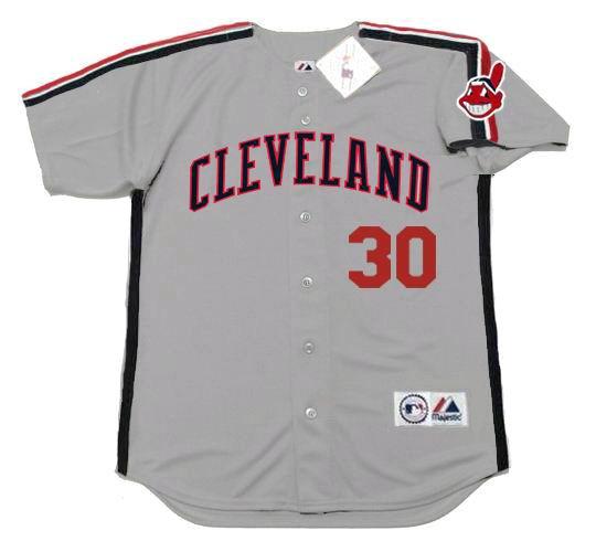 quite nice 4eb00 c9a9a JOE CARTER Cleveland Indians 1989 Majestic Throwback Away Baseball Jersey