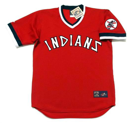 big sale bea1b af38e JOSE RAMIREZ Cleveland Indians 1970's Majestic Red Cooperstown Throwback  Jersey