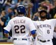 CHRISTIAN YELICH Milwaukee Brewers Majestic Alternate Home Baseball Jersey - ACTION