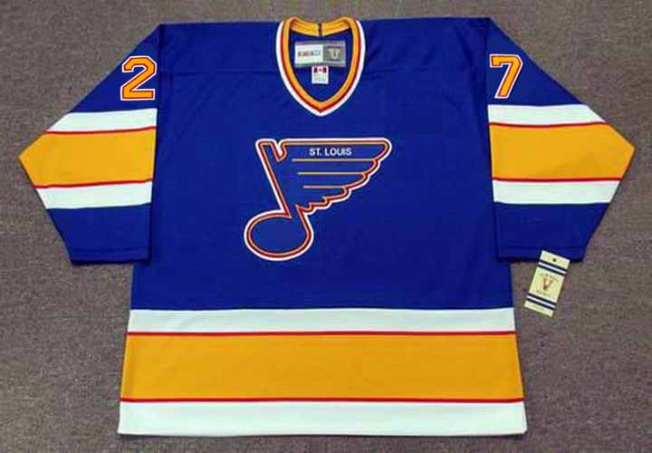 sale retailer 093f7 95a30 SERGIO MOMESSO St. Louis Blues 1989 CCM Vintage Throwback NHL Hockey Jersey