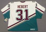 GUY HEBERT 1995 CCM Vintage Home Anaheim Mighty Ducks White Jersey - BACK